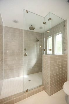 walk in shower, seamless glass, tile Heated Bathroom Floor, Bathroom Flooring, Interior Styling, Interior Design, Glass Shower, Walk In Shower, Master Bathroom, Bathroom Ideas, Shower Ideas