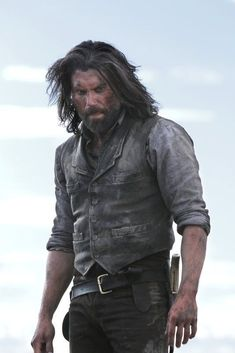 Buy Online Cullen Bohannon (Anson) Hell on Wheels Leather Vest Sale Leather Vest, Real Leather, Television Wall Mounts, Westerns, Anson Mount, Hell On Wheels, Western Movies, Le Far West, Hairy Chest