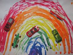 Creating a rainbow with paint and cars. Great for visual-motor skills, shoulder stability, color recognition, and descriptive language. Other options: let child create design he/she desires.