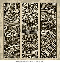 Abstract vector hand drawn vintage ethnic pattern card set. Part 1