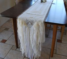 True Love Stories - Vintage Lace and Burlap Shabby Country Cottage Chic Wedding Table Runner - Reserved for Kim. $98.00, via Etsy.