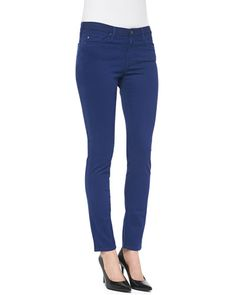 T8NT8 AG Adriano Goldschmied Prima Sateen Mid-Rise Cigarette Jeans, Lapis
