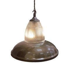 Antique Brass Glass Pendant Light Bespoke Traditional Antique Brass Glass Pendant Light Fitting, Industrial metal spun shade with either Prismatic or Frosted Hand Blown Glass Shade which sits on the top.  Industrial round dome shade can have any bespoke finish as shown with any Flex.