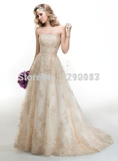 Chic Strapless A Line Champagne Lace with Beads Organza Plus Size Wedding Dress 2015 New Arrival Vestido De Renda-in Wedding Dresses from Weddings & Events on Aliexpress.com | Alibaba Group