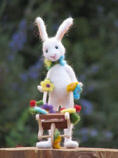 Needle felted white bunny with wheelbarrow spring by Made4uByMagic, $98.00