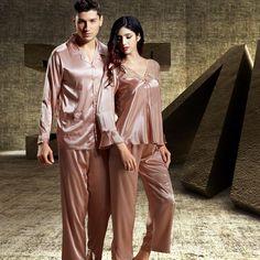 Plus Size Cotton Nightgowns, Luxury Couple, Couple Pajamas, Mens Sleepwear, Striped Pyjamas, Satin Pajamas, Pajamas Women, Pajama Set