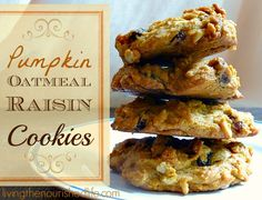 Pumpkin Oatmeal Raisin Cookie Recipe - adapt for gf needs by using all purpose gluten free flour