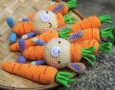 This is a listing for 2 crochet patterns:  - Carrots PDF Crochet Pattern - Carrot Bunny PDF Crochet Pattern (Bunny in a Carrot Costume)  In my shop there are separate listings for these 2 patterns. If you like them both, it is better to purchase these 2 patterns through THIS listing at a discounted price. You need to know basic crochet stitches and skills like starting with an adjustable ring, working in rounds, changing colors, etc.  Many pictures are included in the files to help you…