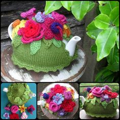 Knitting Spring Explosion Tea Cozy with free pattern  #Knitting #Teacozy #Pattern #Cozy