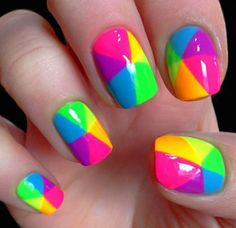 Bright Summer Acrylic Nails, Multicolored Nails, Colorful Nail Art, Geometric Nail Art, Summer Nails, Pink Summer, Summer Sun, Summer Heat, Summer Fruit