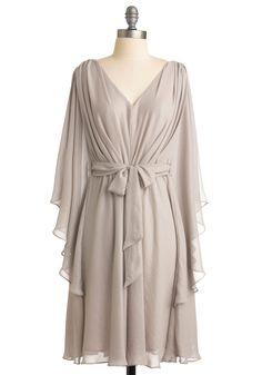 Drifting Damsel Dress - Grey, Solid, A-line, 3/4 Sleeve, Wedding, Party, Spring, Fall, Mid-length