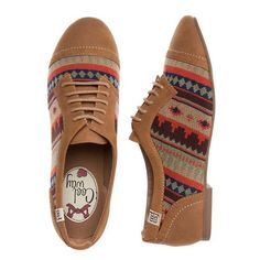 Coolway Tan Aztec Lace Up Brogues ($48) ❤ liked on Polyvore