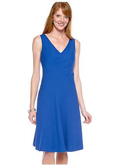 Anne Klein Sleeveless V-Neck Fit and Flare Dress