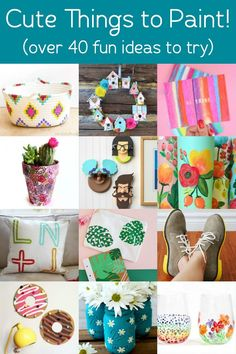 If you're looking for cute things to paint, here are over 40 ideas on a variety of surfaces! These are easy enough for kids or adults - great for beginners. Dollar Store Crafts, Crafts To Sell, Fun Crafts, Paper Crafts, Mason Jar Crafts, Mason Jar Diy, Paint Chip Art, Diy Wedding Backdrop, Weekend Crafts