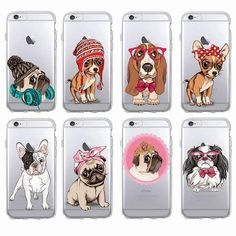 Cute Puppy Pug Bunny Cat Princess French Bulldog Soft Phone Case Cover Coque Funda For iPhone 7 6 X - Sweet Pugs French Bulldog Puppies, Baby Puppies, Cute Puppies, Cute Dogs, Dogs And Puppies, French Bulldogs, Iphone 5s, Coque Iphone, Iphone Cases