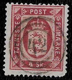+ 1871 Denmark Crown Arms Official Bob #O2 O1 4 Skilling Nr-42-Middelfart used