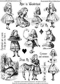 Alice In Wonderland Rubber Stamps Set 1 £15.17