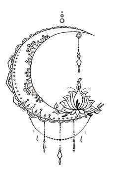 Bohemian Moon Tattoo Design Designed by The Devil is in the Details Design www.facebook.com/thedevilisinthedetailsdesign #tattooremovalproducts