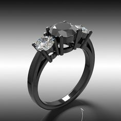 14k Black Gold Engagement  Ring, Diamond Ring , Black Diamond Ring, Wedding Ring, Wedding Band, 3 Stone Ring, Anniversary Ring. $1,495.00, via Etsy.
