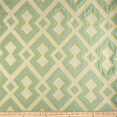 Refresh and modernize any home decor with this lightweight jacquard fabric. Perfect fabric for revitalizing an old piece of furniture and updating it with a new look. This fabric is an appropriate weight for window treatments, accent pillows, upholstering furniture, headboards, poufs and ottomans. This fabric has 51,000 double rubs. Colors include citron yellow, pale aqua and ivory.