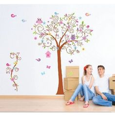 MZY LLC (TM) Super Large 180*170cm Colorful Owl Big Bending Tree Wall Stickers Removable Wall Decal Sticker Nursery For Children's Bedroom *** See this great image  : home diy improvement