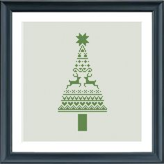 christmas cross stitch pattern modern christmas tree by Happinesst