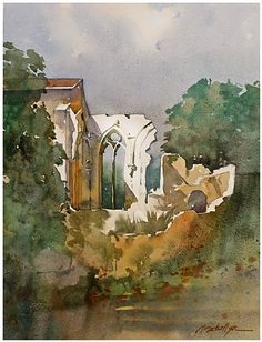 abbey ruins - france by Thomas  W. Schaller Watercolor ~ 22 inches x 15 inches
