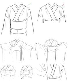 【basic kimono tips】 Σ. kimono tips because this is still very important Manga Clothes, Drawing Anime Clothes, Body Reference Drawing, Drawing Reference Poses, Kimono Animé, Body Drawing Tutorial, Clothing Sketches, Fashion Design Drawings, Digital Art Tutorial