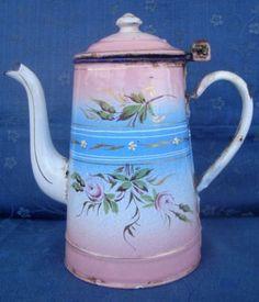 ANTIQUE FRENCH  FLORAL ENAMEL COFFEE POT; Circa 1870-1880