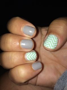 Stone and Mint Green Chevron- Jamberry Nail Wraps- laurasobus.jamberrynails.net