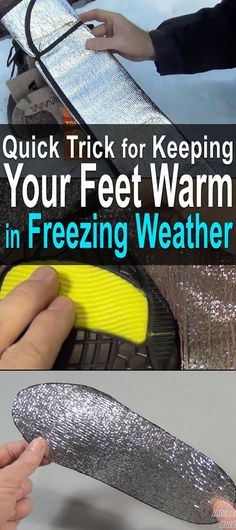 Quick Trick for Keeping Your Feet Warm in Freezing Weather. This works really well for keeping your feet warm because not only does it add insulation between your foot and the ground, it also reflects your body heat back onto your foot. Survival Supplies, Survival Food, Camping Survival, Outdoor Survival, Survival Knife, Survival Prepping, Emergency Preparedness, Survival Skills, Survival Hacks