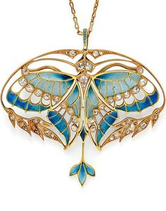 Art Nouveau 18kt Gold, Plique-à-Jour Enamel, and Diamond Pendant/Brooch, Henri Vever Paris. Designed as a butterfly with plique-à-jour enamel wings and bezel-set old mine-cut diamonds, framed by foliate motifs set with old mine- and rose-cut diamonds, diamond-set bail, with removable findings for pendant or brooch conversion, and with original screwdriver, French import stamps, signed VEVER PARIS, in original fitted box for Vever, 14 rue de la Paix. #Vever #ArtNouveau #pendant #brooch