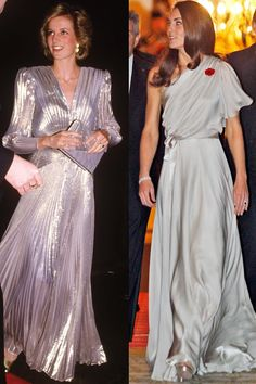 If I remember correctly, Diana's gown has no back.  So I think this gown is more interesting from the back than front.  Love Catherine's gown!  - Diana in Bruce Oldfield at the Grosvenor House Hotel in London, March 1985; Kate in Jenny Packham at the National Memorial Arboretum Appeal at St James's Palace in London, November 2011.