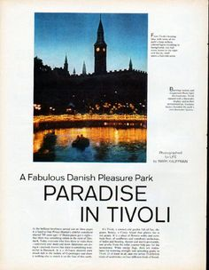 "Description: 1961 PARADISE IN TIVOLI vintage magazine article ""A Fabulous Danish Pleasure Park"" -- Photographed for LIFE by Mark Kauffman ... * Tivoli's boating lake * pyrotechnician Guitano Amici * Picnic Fare and Fancy Food * Belle Terrasse * Sculptor Torsten Johansson * Peacock Curtain * little Mats Anderson * Tivoli's Harlequin * Tivoli's flea circus * flea trainer Else Torp * Sunny Walks to Shaded Nooks * Parterre Garden * Dragonflies in Plastic * Chinese Pagoda * Love Letter to a…"