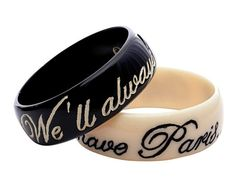 """Take your own sentimental journey with these """"We'll Always Have Paris"""" resin bracelets."""