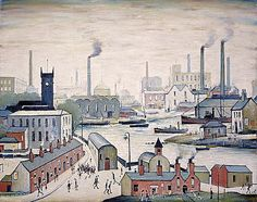 The scene depicted in this painting is based on cityscapes from Runcorn and Widnes, on the river Mersey. Although Lowry's paintings may at first seem naïve, they are rigorously composed and intricately patterned. For example, the two chimneys on the building in the foreground echo the two industrial chimneys behind. The arched roof of the church rhymes wittily with both the lamppost beside it and the domed roof on the horizon. Lowry's famous 'matchstick' people populate the scene.