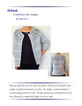 Featuring a floral lace yoke and a lacy stripe pattern, this feminine three-quarter sleeve cardigan is equally lovely dressed up or down. The cardigan is worked seamlessly in one piece starting with the lace yoke. The body and sleeves are crocheted from the yoke down, allowing you to adjust their lengths to suit your needs. Pattern also includes button band instructions for both single and multiple buttonholes.