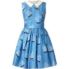 Orla Kiely Around The World Print Silk Twill Sleeveless Dress ($255) ❤ liked on Polyvore featuring dresses, vestidos, blue, blue dresses, sky, button dress, orla kiely dress, zipper dress, ruched dress and ruching dress