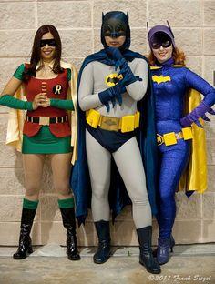 Batman with Batgirl & a Girl Robin.