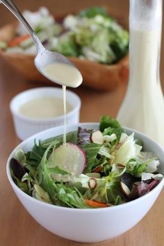 crazy good vegan creamy salad dressing:   1 cup water, 1/2 cup raw cashews, 1/2 cup lemon juice, 1/2 cup olive oil, 1/3 cup nutritional yeast flakes, 2 cloves garlic, 2 tablespoons sugar, 1 1/2 teaspoon salt (or to taste), 1 1/4 teaspoon onion powder, 1 teaspoon oregano or dill     Blend all ingredients (except oregano or dill) in a high-speed blender. Add oregano or dill and just barely jog your blender to mix in the herbs, without blending them up.