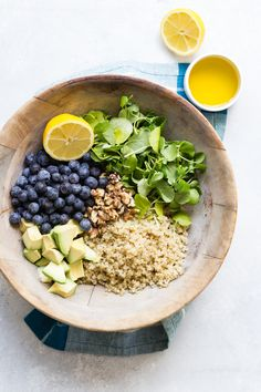 What an awesome way to use frozen blueberries, in a healthy blueberry quinoa salad! #GoodnessFrozen