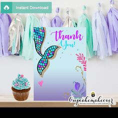 Printable under the sea mermaid thank you cards. Mermaid Birthday, Girl Birthday, Birthday Invitations, Invites, Printable Thank You Cards, Under The Sea Theme, Thing 1, Mermaid Parties, Turquoise Color