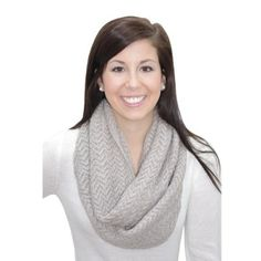 Grey Knit Infinity Scarf. #scarf  #fashion 9thelm.com