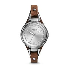 Fossil Georgia Three-Hand Leather Watch - Tan Oh my lanta I love Fossil watches.