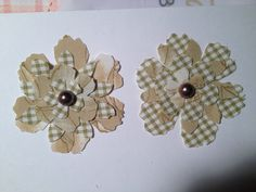 Brown & Light Green Fabric Shabby Chic Sizzix Tim Holtz Tattered Floral Flower Hair Clips/Broachs