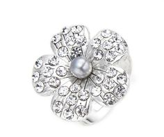 Women's Faux Pearl & Crystal Flower Statement Ring  A beautiful fashion ring made from alloy in a silver colour finish with a central faux pearl surrounded by crystal stones on the petals. A perfect gift for her or why not treat yourself?  First class UK delivery is free and orders are usually dispatched within two working days.  Other delivery options are available including cheap EU shipping.  Size: ring band is adjustable, flower is approx 2.2cm Materials: Alloy with antique silver...