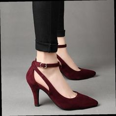46.06$  Watch now - http://aliy0y.worldwells.pw/go.php?t=32768233975 - New Arrive fashion sexy Large size high heels Wine red, black spring Women Shoes ankle strap Suede Heels pumps obuv Schuhe