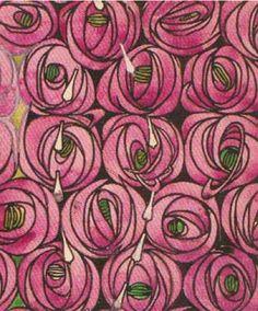 Fabric design by Charles Rennie Mackintosh, 1923, 'Rose and Teardrop'.
