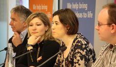 Panel at Hot Topics Hack Yourself event. l-r Jon Cousins, Adriana Lukas, Louise Marston & Kiel Gilleade