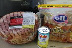 Crock Pot Ham - Tammilee Tips 7lb ham 2 cups pineapple juice 1 cup brown sugar 1/2 cup maple syrup